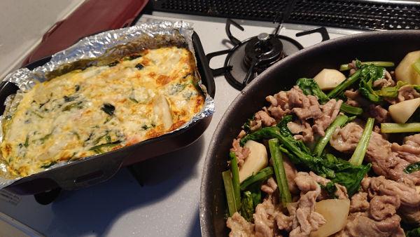 カブと豚のオイスター炒め+ほうれん草とジャガイモのキッシュ
